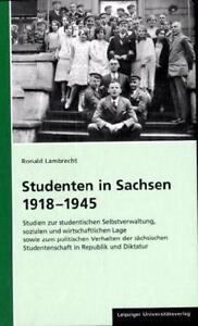 Studenten in Sachsen 1918 - 1945 Ronald Lambrecht ISBN 3865835775 Neu & OVP