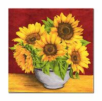 4 lose Servietten Tovaglioli Napkins 33 x 33cm Sonnenblumen in Schale (563)
