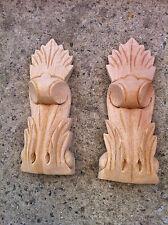 x 2 Decorative Carved Corbel Wood Raw - S33 - H15.5cm x W5.5cm