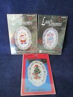 Three Oval Lace Christmas Cross Stitch Ornaments Bear Mouse Juggling Santa New