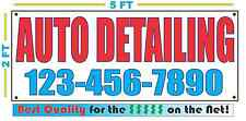 AUTO DETAILING w CUSTOM PHONE Banner Sign NEW Larger Size Best Quality for the $