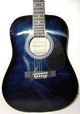 New Full Size Blue Steel String Dreadnought Acoustic Guitar with Capo