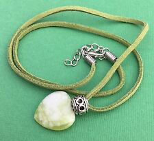 Green Agate Gemstone Heart Pendant Charm Necklace Green Suede - Aussie Seller!!!