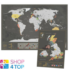 WORLD AND UK SCRATCH MAP SET BLACK SILVER TRAVEL TRACKER JOURNAL WALL POSTER NEW