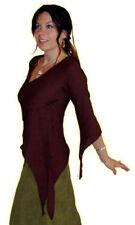 Maglie e camicie da donna marrone in cotone con scollo a v
