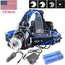 90000LM 3-Zoom T6 LED 18650 Headlamp Rechargeable Head Light Torch Lamp Tactical