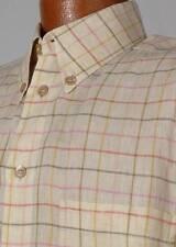 ERMENEGILDO ZEGNA Mens Light Beige Tattersall Plaid LINEN Dress Shirt 15 ½ - 32