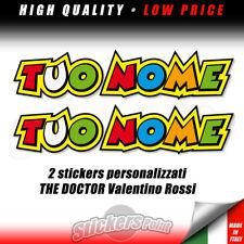 2 adesivi PERSONALIZZATI nome a scelta THE DOCTOR Valentino Rossi VR 46 stickers