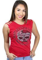 Harley-Davidson Ladies Chrome Willie G Skull Sleeveless Red Slashed Muscle Shirt
