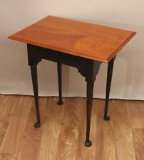Signed Eldred Wheeler 1 Drawer Queen Anne Side Table Tiger Maple Top Nr