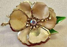 Vintage Retro Mod FLOWER POWER Daisies 60s Enamel Brooch Jewelry Pin Daisy Green
