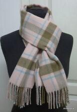 ELGIN Echarpe 100% cachemire ecossais rose bleu clair brun cashmere scarf
