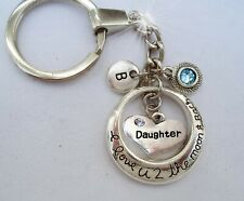 Daughter I Love U 2 the Moon and Back Keychain w-Birthstone Crystal-Letter Charm