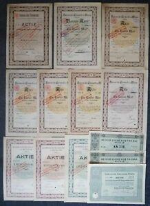 13 div. AKTIEN BUDERUS'sche EISENWERKE (meist) Wetzlar aus 1884 - 1939