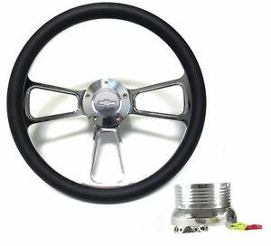 "1969-1994 Impala, Bel Air, Caprice 14"" Black Steering Wheel Kit, Bowtie horn"