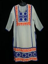 VTG 60s HandMade Lng Dress Kaftan White Embroidery Blue Org Hippy Boho Bride M/L