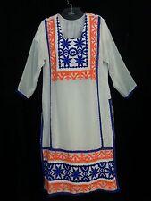 VTG 60s HandMade Lng Dress Kaftan White Embroidery Blue Org Hippy Boho Bride M/L