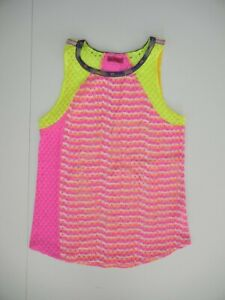 CUSTO BARCELONA Spain Bright Neon Pink/Yellow TANK TOP SHIRT Gym Sz Women's SM
