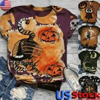 US Women's Halloween Pumpkin Print T-Shirt Tops Ladies Short Sleeve Casual Tee