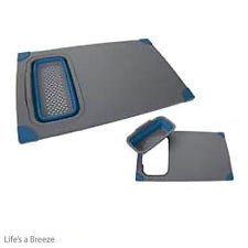 Pop Up Chopping Board and Colander. Blue for Camping Caravans & Motorhomes
