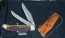 "Schrade Walden 225H Knife ""Folding Hunter"" W/Pocket Pouch & Braided Leather Pull"