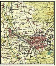 Nürnberg Fürth 1904 kl. Atlaskarte Schweinau Ziegelstein Buch Wöhrd Layn Höfen