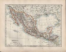1904 Antiguo Mapa ~ mexico ~ Centroamérica Guatemala La Baja California