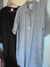 CHIHA Lot 2 Cotton ROBES L / XL Fit Size 16 Blue / Black Made USA