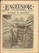 GUERRE 14/18 JOURNAL EXCELSIOR MUNITIONS AFRICAINS DARDANELLES MARCEL ARNAC 1915