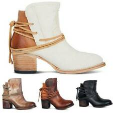 Women Winter Retro Ankle Boots Ladies Casual Block Mid Heel Lace Up Bootie Shoes