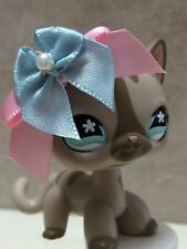 LITTLEST PET SHOP CAT KITTY GREY w STRIPES & BLUE EYES #1206 SHIPS FREE 9 pics