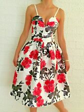 Women's Sleeveless Floral Red White Cocktail Midi Evening Dress Size 6-8-10 NEW