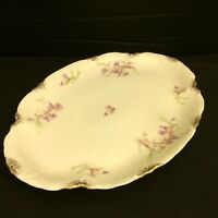 Warwick China A2002 13 Inch Oval Serving Platter Blue Pink Gold Daubs Vintage