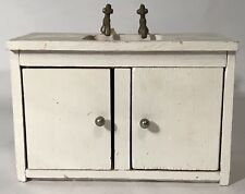 Vintage Doll House Wooden Kitchen Sink Cabinet Counter Storage Bathroom Mini