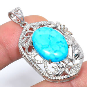 """Magnesite Turquoise & Cz Gemstone 925 Sterling Silver Pendant Jewelry 1.6"""" M1586"""