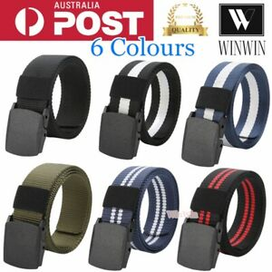 Men Women Universal Pants Jeans Nylon Canvas Belt Outdoor Sport Military Style