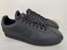 Mens NIKE Classic Cortez Triple Black Leather Sneakers US 11 #17004