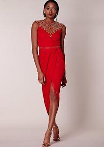 Virgos Lounge Navy Danica Embellished Wedding Ruched Party Midi Dress 10 38 New