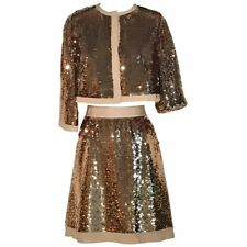 Dolce & Gabbana Gold Sequin Cropped Jacket and Pencil Skirt Suit Set IT 42 6