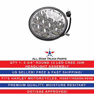 "5 3/4"" HID Round CREE Led Spot Headlight Work Lamp Offroad Truck Fit Harley Qty1"