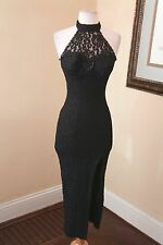 Vtg 80s 90s Black Lace Halter Formal Cocktail Evening Dress Sz 0 2 XS Sequin