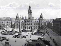 GLASGOW GEORGE SQUARE SCOTLAND VINTAGE HISTORY OLD BW PHOTO PRINT POSTER 810BWB