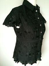 Karen Millen Amazing Appliqué  Embroidered 3D  Daisy Shirt Blouse Size 14-16