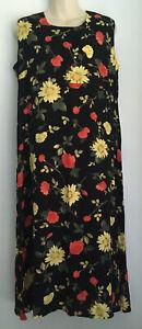 Vintage Retro Myer Direct Ladies Black Floral Sleeveless 90's Maxi Dress Size 14
