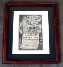 Vintage 1916 BURROWES Billiard Table Framed Advertisement Print 'King of Games'