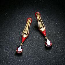 Zircon Shoe Horn Heel Top P2 Earrings Nails Gold Plated Enamel Red