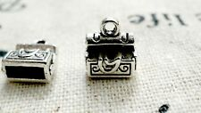 Treasure chest silver 10 charms vintage style jewellery supplies C424