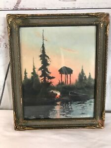 Sidney Lawrence Alaska Cache Framed Painting Print Curtis Style Batwing Frame