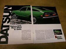 Original 1974 Datsun B210 Two-Page Magazine Ad