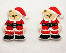 2x SANTA TEDDY BEAR XMAS 4cm Embroidered Iron Sew On Cloth Patch Badge APPLIQUE